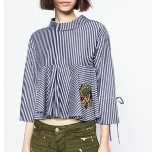 Zara Striped Embroidered Tiger Top